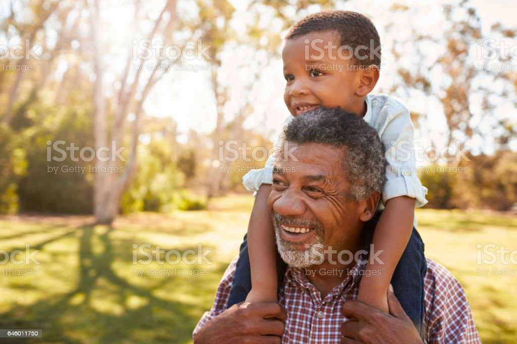 Grandfather Carries Grandson On Shoulders During Walk In Park stock photo