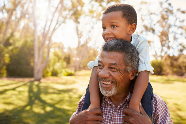 Grandfather Carries Grandson On Shoulders During Walk In Park Grandfather Carries Grandson On Shoulders During Walk In Park african american ethnicity stock pictures, royalty-free photos & images
