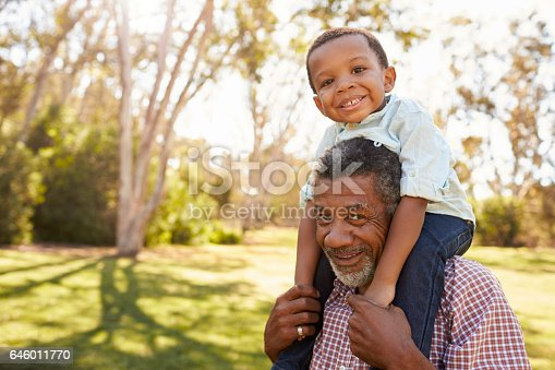 istock Grandfather Carries Grandson On Shoulders During Walk In Park 646011770