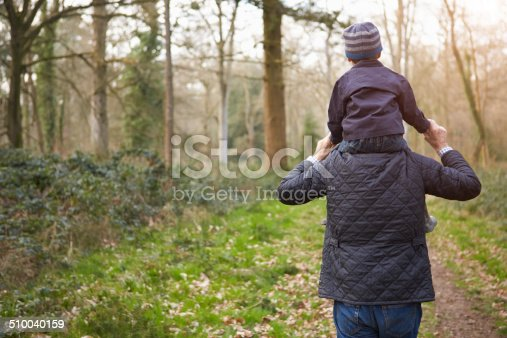 istock Grandfather Carrying Grandson On Shoulders During Walk 510040159