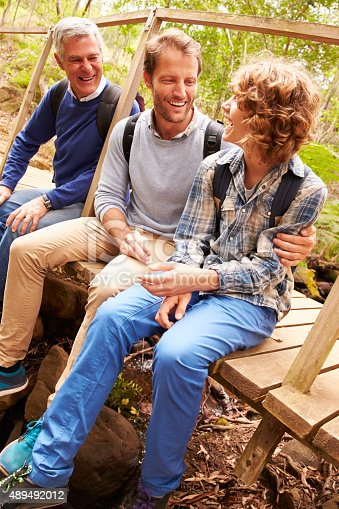 istock Grandfather, father and son sitting on a bridge in  forest 489492012