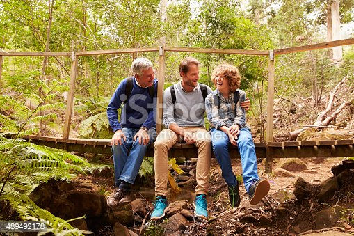 istock Grandfather, father and son sitting on a bridge in forest 489492178