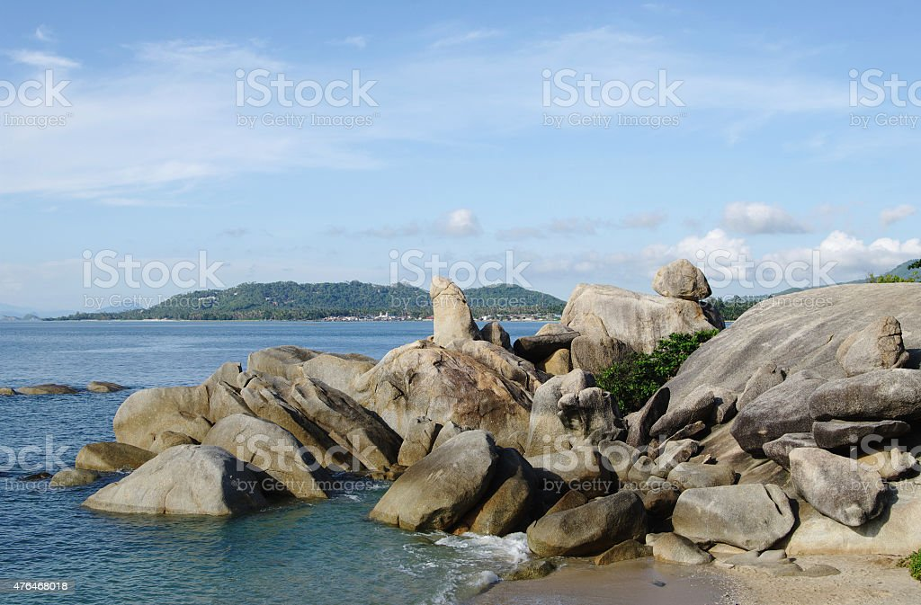 Grandfather & Grandmother Rocks,   Lamai beach, Koh Samui, Thailand. stock photo