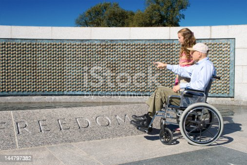 Older man in a wheelchair and his grand daughter looking at the stars of the fallen at the World War II Memorial in Washington, DC. - See lightbox for more