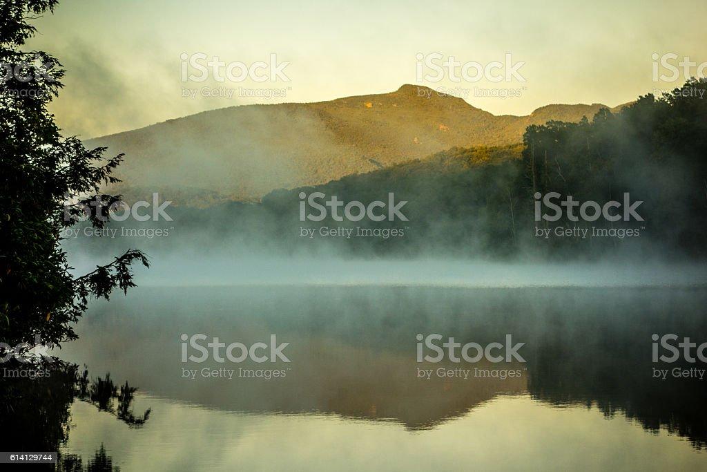 Grandfather Mountain Sunrise Reflections on Julian Price Lake in stock photo