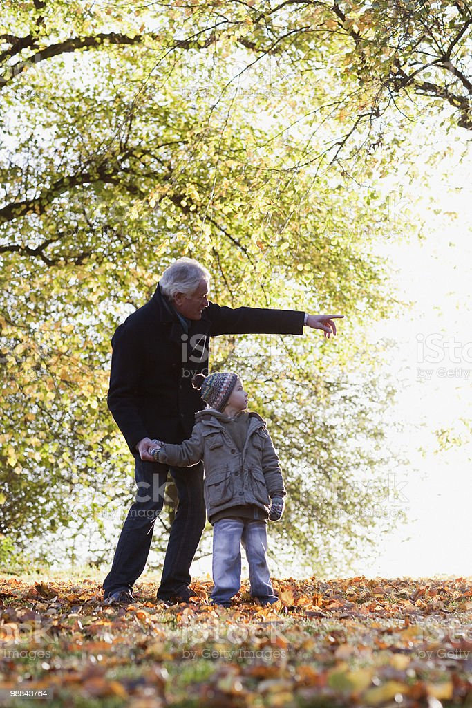 Grandfather walking outdoors with grandson in autumn royalty-free stock photo