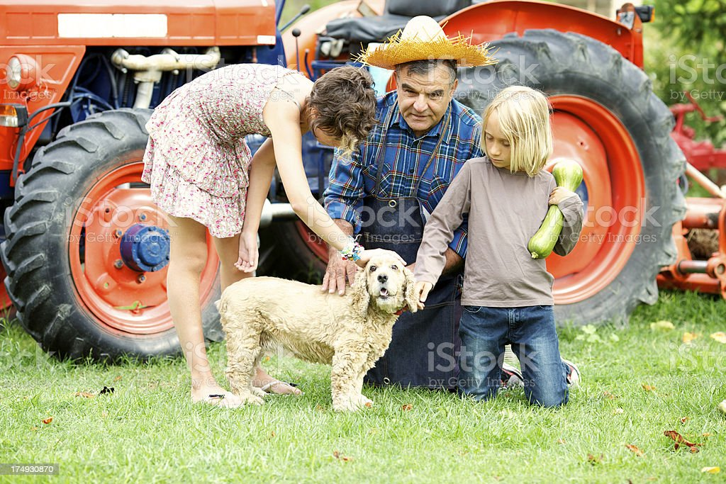 Grandfather with grandchildren caressing their dog royalty-free stock photo