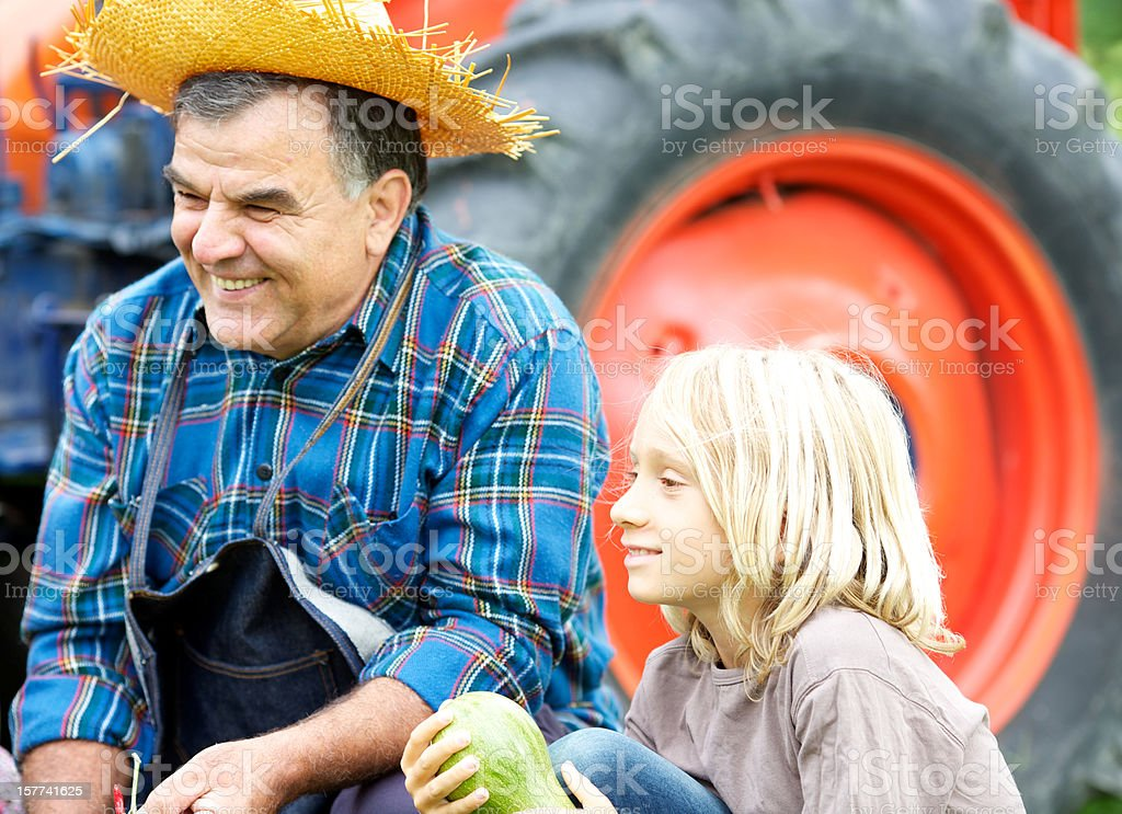 Grandfather with grandchildren in the vegetable garden royalty-free stock photo