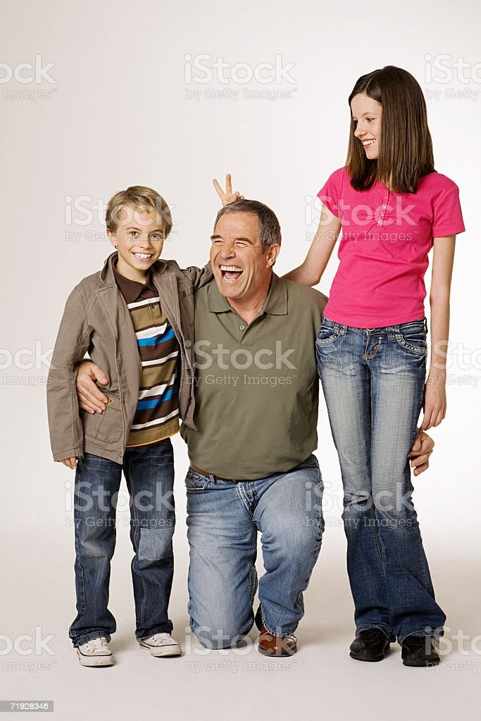 Grandfather with grandchildren royalty-free stock photo