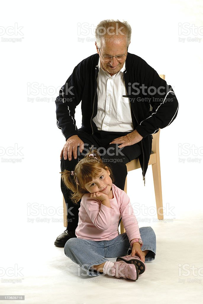 grandfather with granddaughter royalty-free stock photo