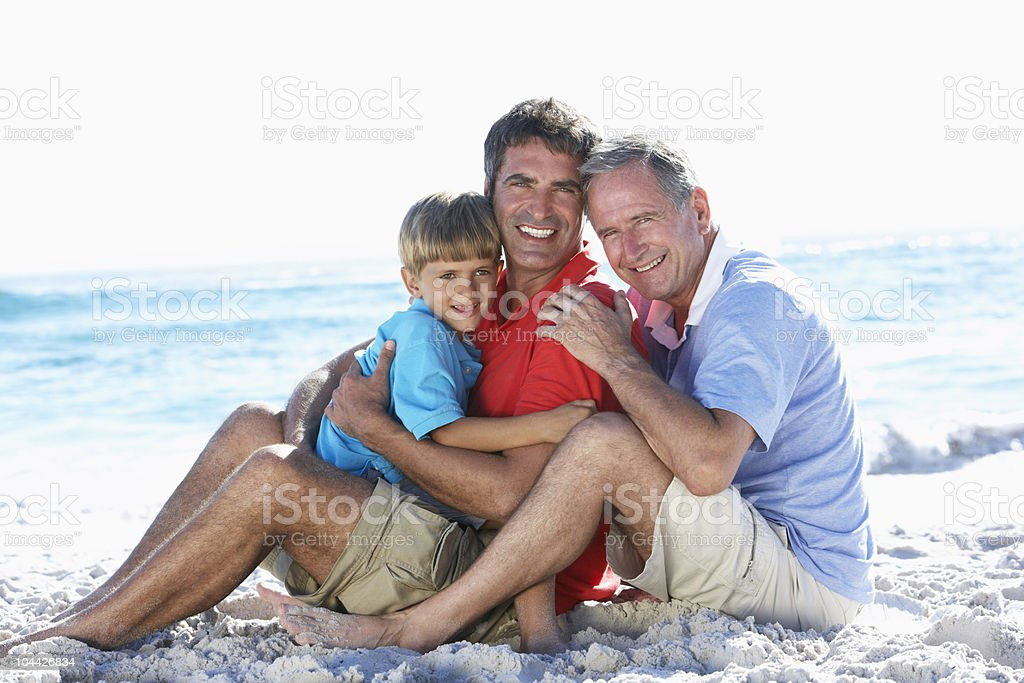 Grandfather With Grandson And Father On Holiday royalty-free stock photo