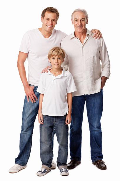 Abuelo con hijo y nieto aislado - foto de stock