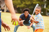 istock Grandfather With Son And Grandson Playing Baseball 514300661