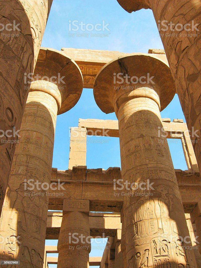 Grandiose colonnade of hypostyle hall at Karnak Temple royalty-free stock photo