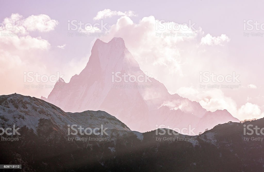 Grandiose view of Machapuchare Sunrise Holy Peak Himalayas stock photo