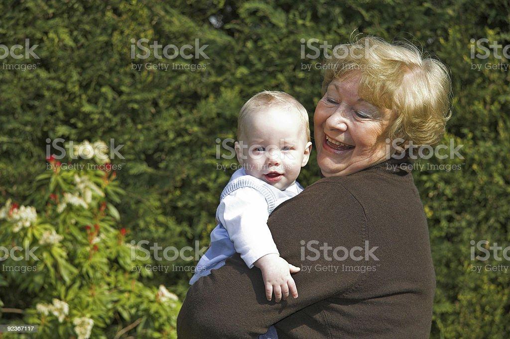 Grandma and grandson stock photo