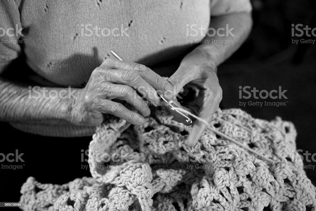 Grandma Crocheting royalty-free stock photo