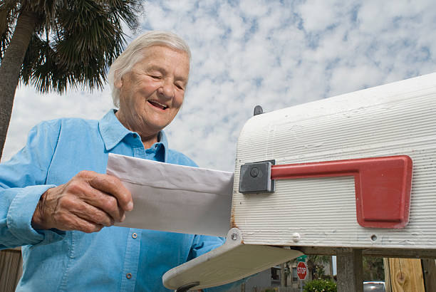 Grandma gets a letter stock photo
