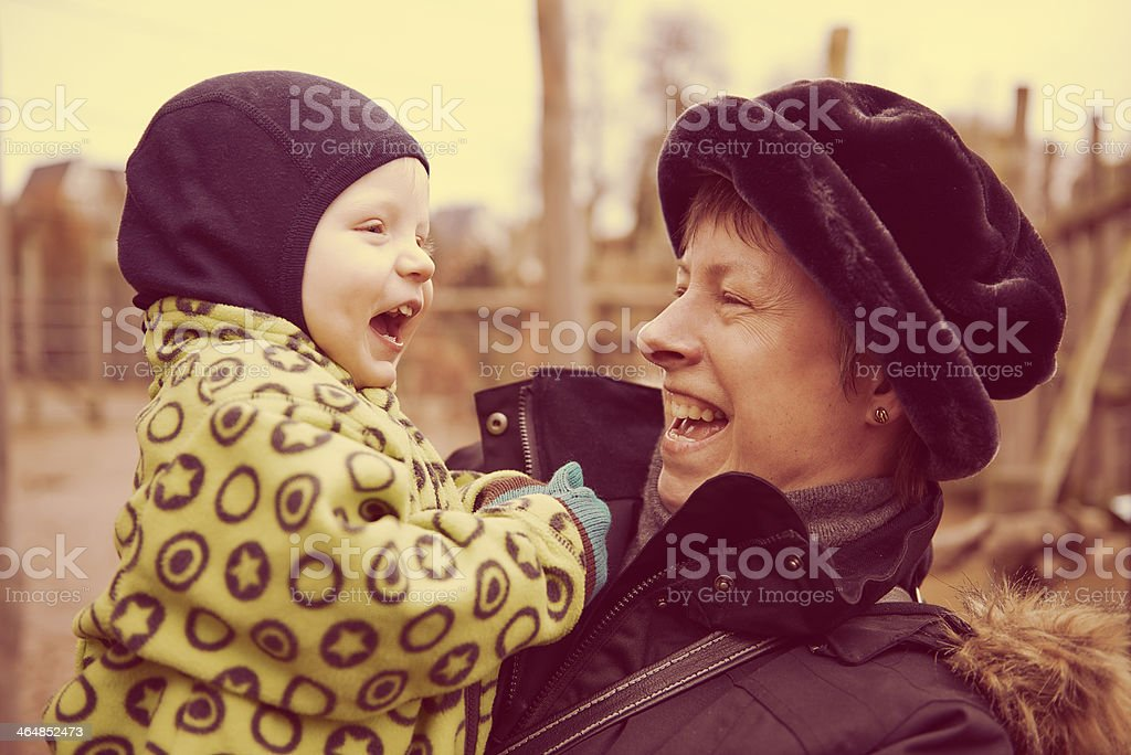 Grandma having fun with grandchild royalty-free stock photo