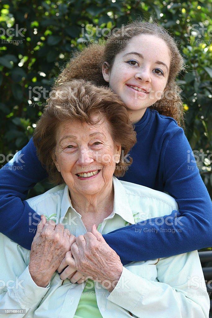 Grandma hug royalty-free stock photo