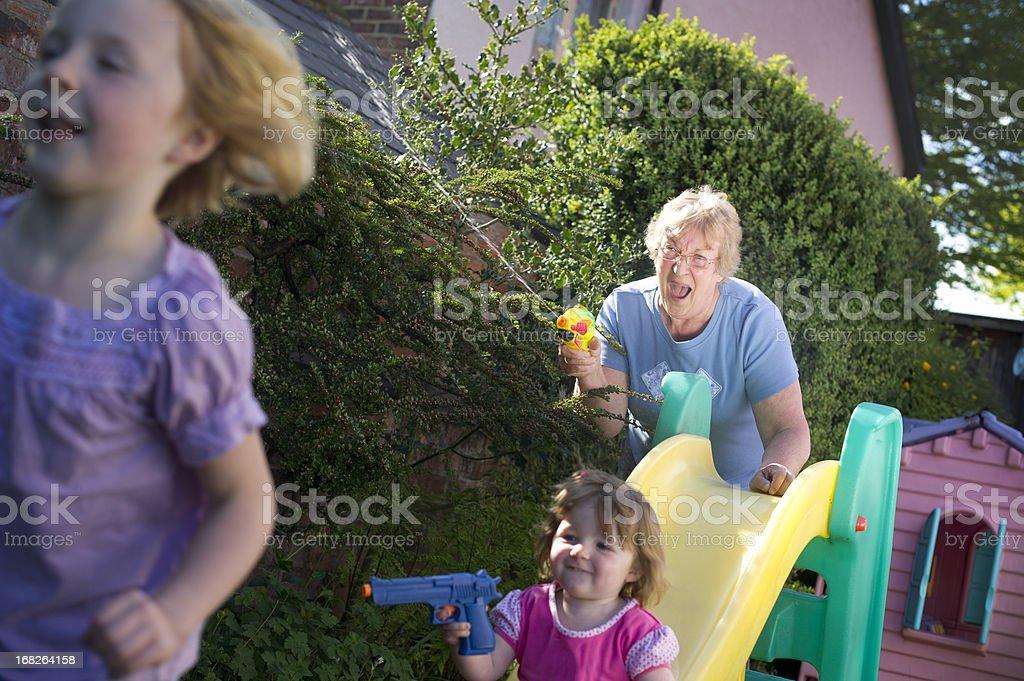 Grandma joining in the fun royalty-free stock photo