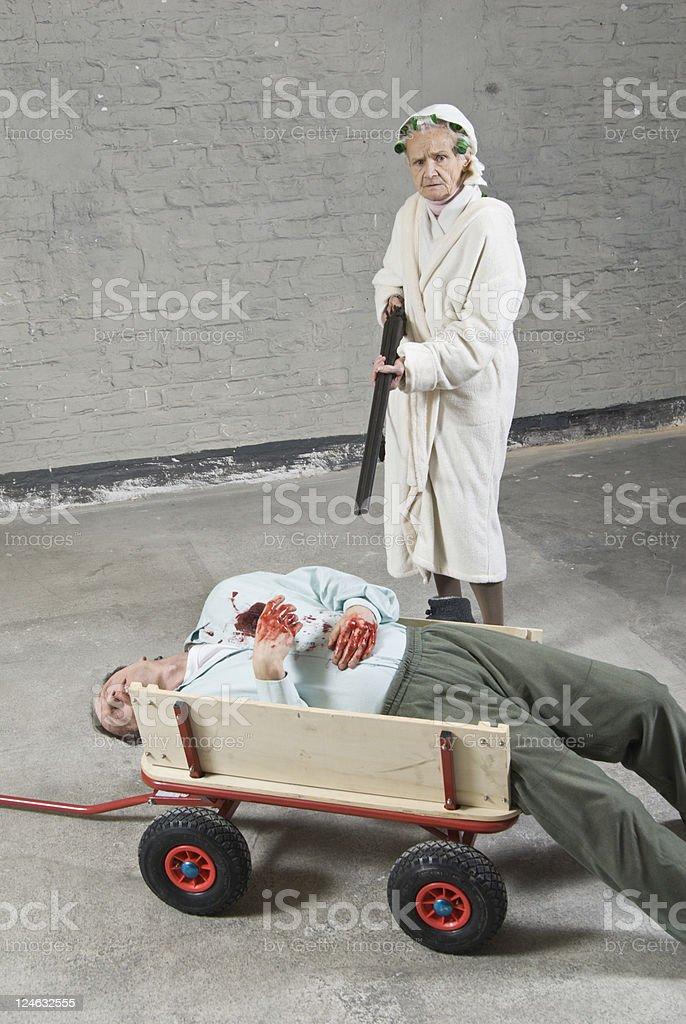 Grandma kills Husband stock photo