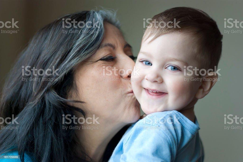Grandma Kisses royalty-free stock photo