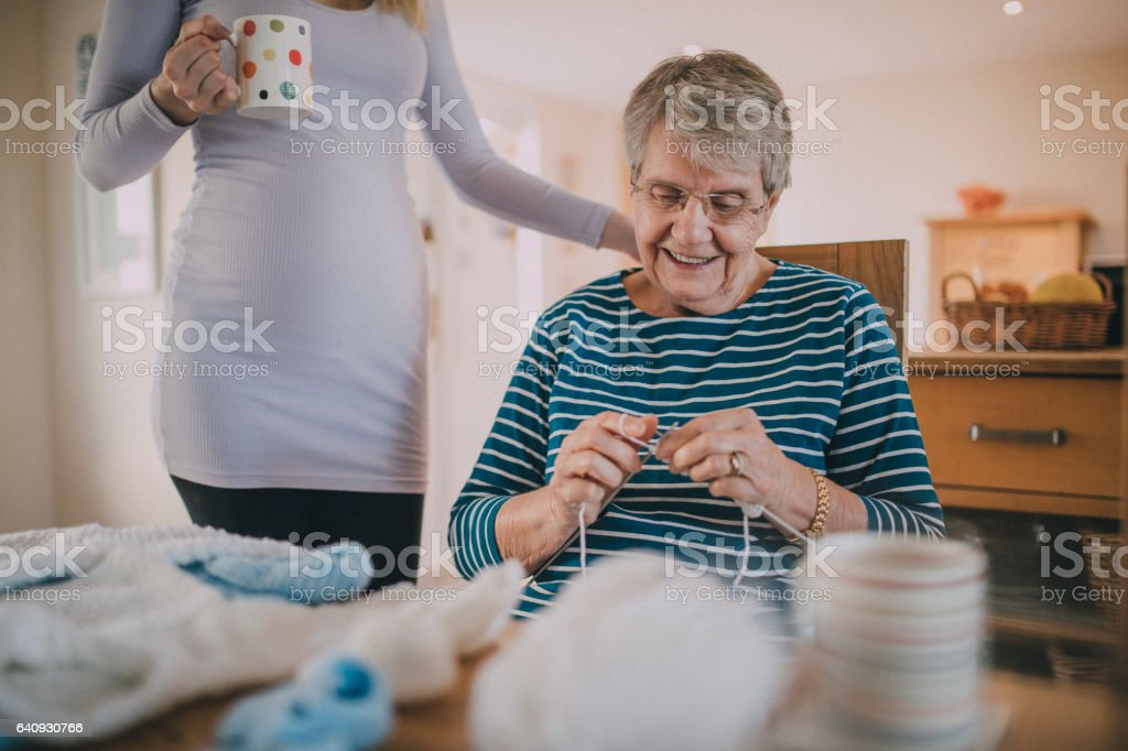 Old Grandma Knitting : Grandma knitting baby clothes stock photo more pictures