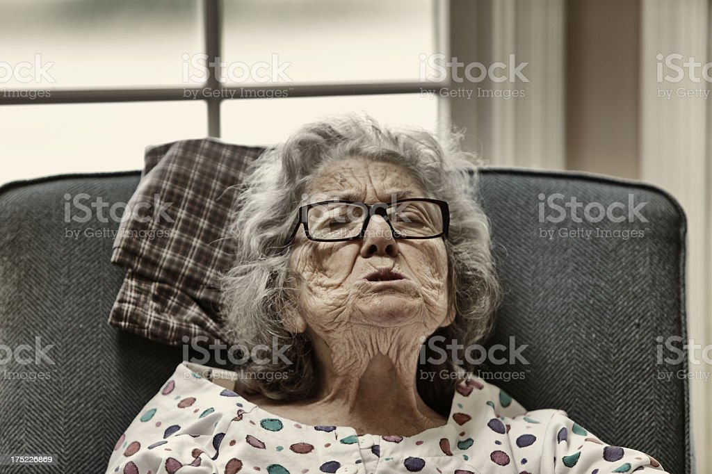 Grandma Making Grotesque Face royalty-free stock photo