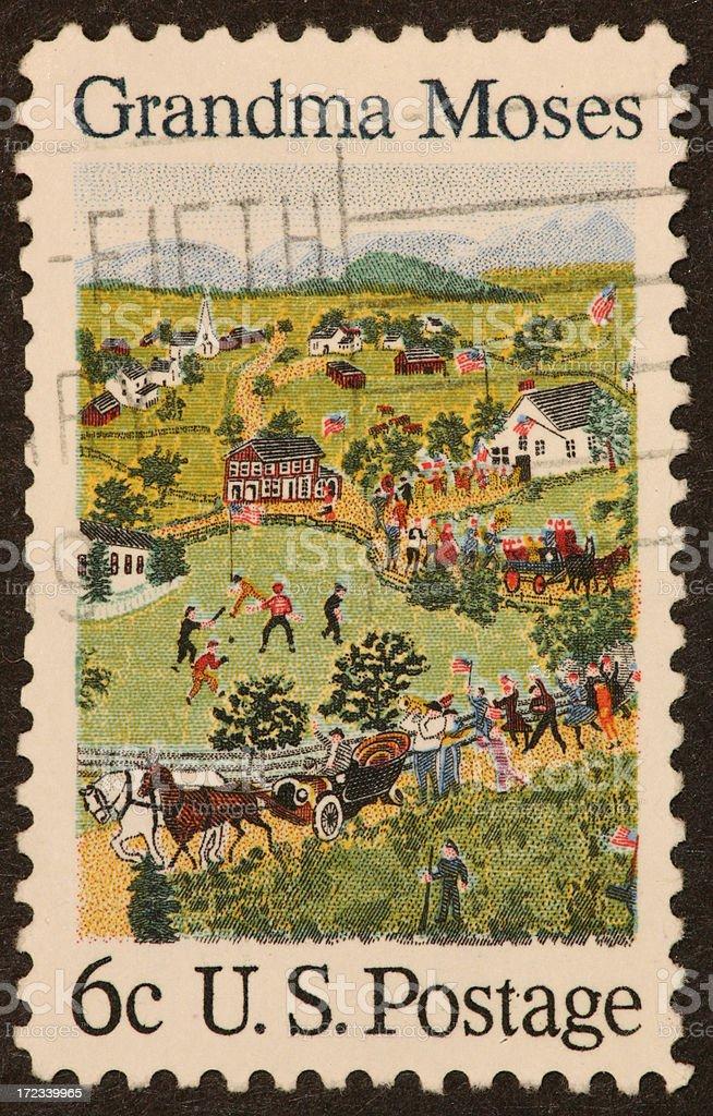Grandma Moses stamp 1960's stock photo