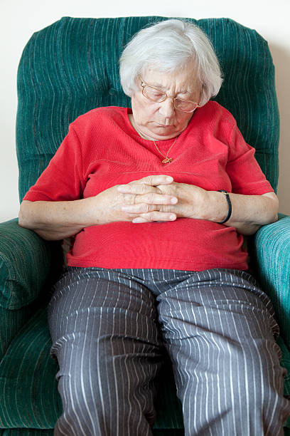Grandma Napping stock photo