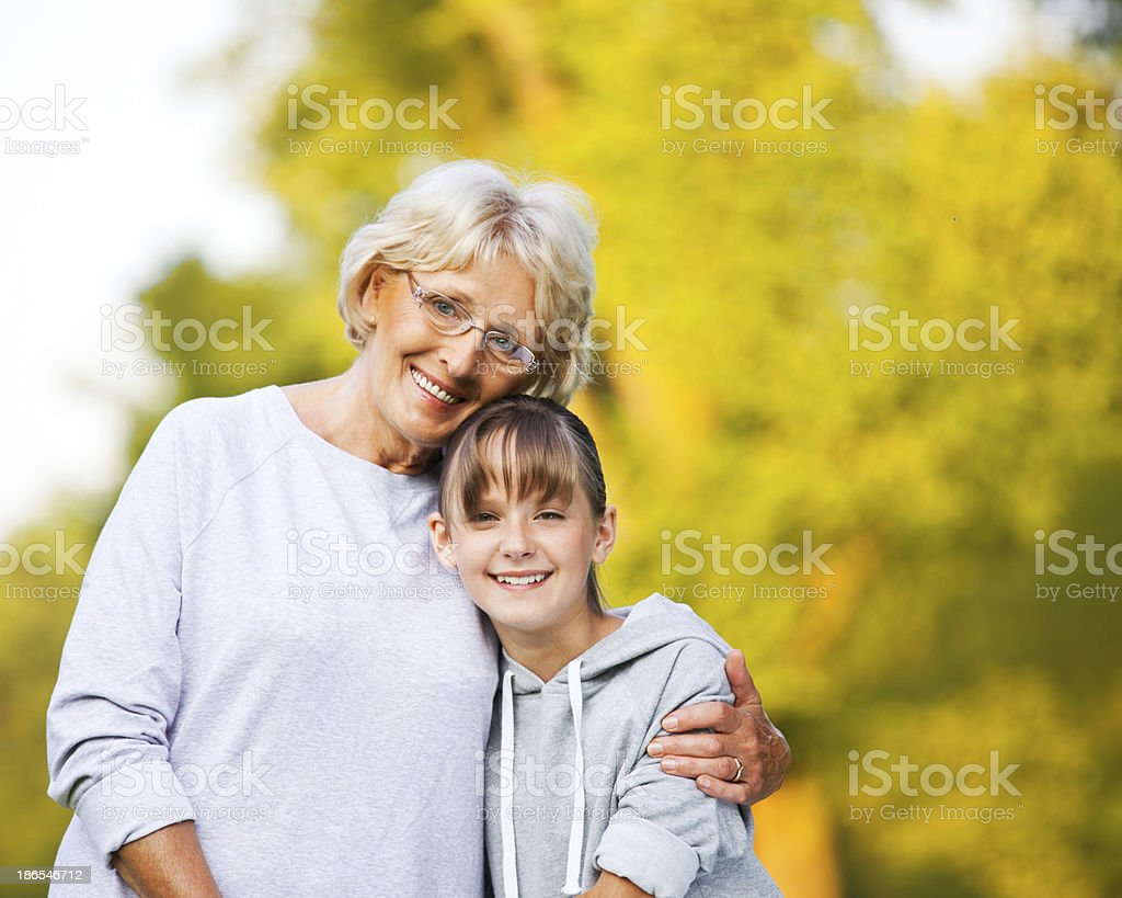Grandma with Granddaughter, Autumn Portrait royalty-free stock photo