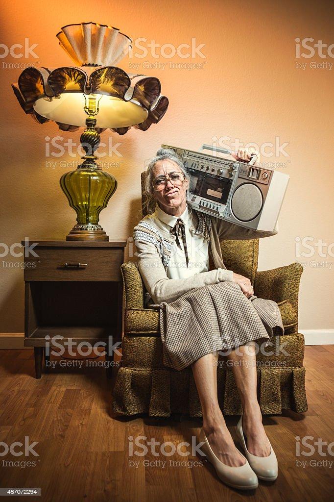 Grandma with Hip Hop Stereo stock photo