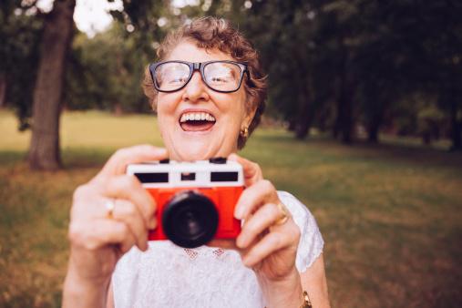 Grandma with retro camera