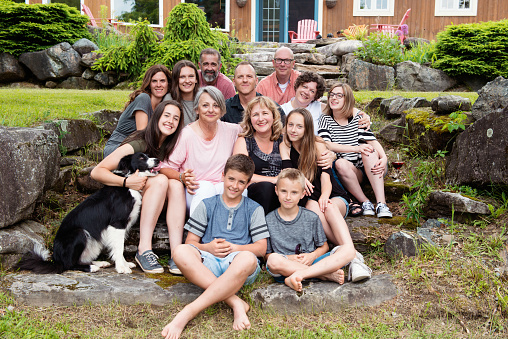 Grandma's birthday with her children and grandchildren, step-sons and daughters-in-law