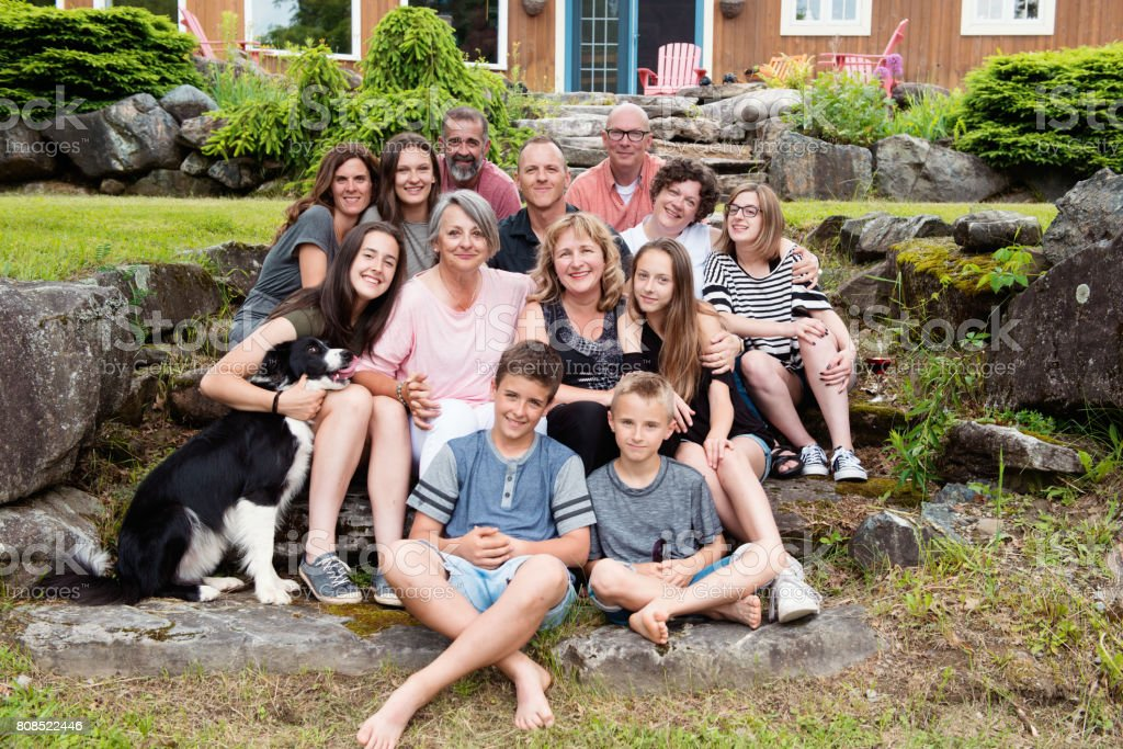 Grandma's birthday with her children and grandchildren, step-sons and daughters-in-law stock photo