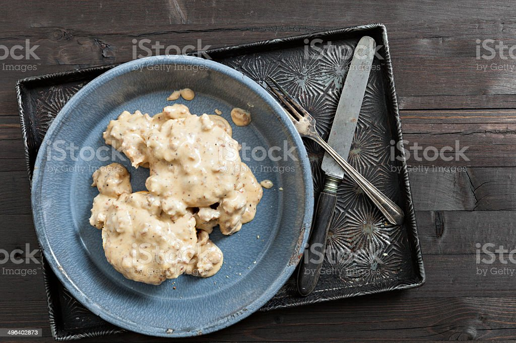 Grandmas Biscuits And Gravy stock photo