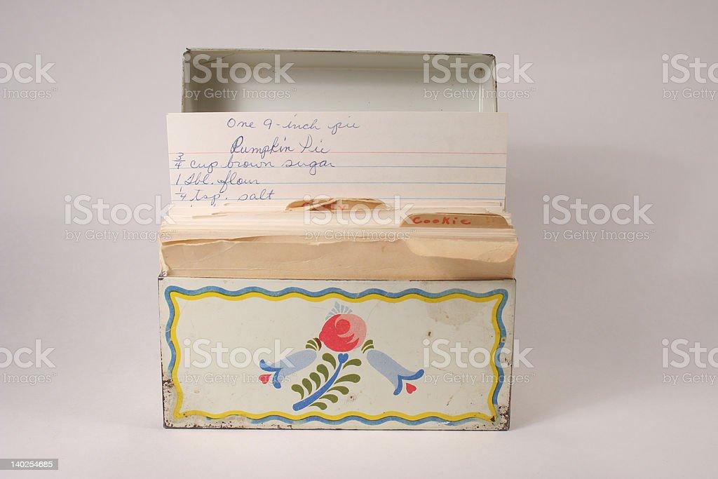 Grandmas recipe file Box stock photo