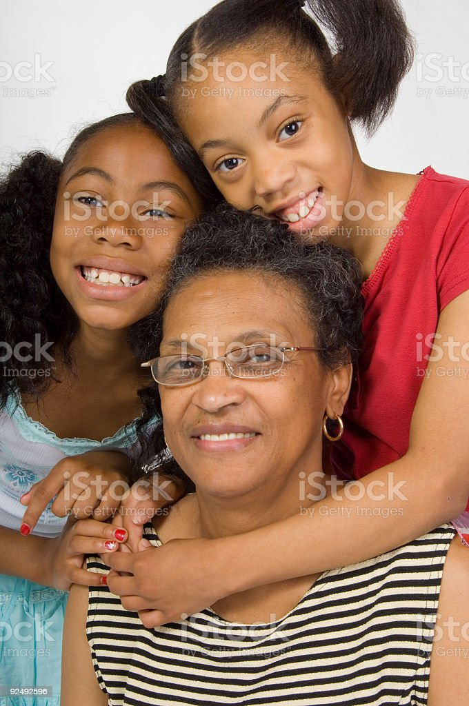 Grandmom and girls royalty-free stock photo