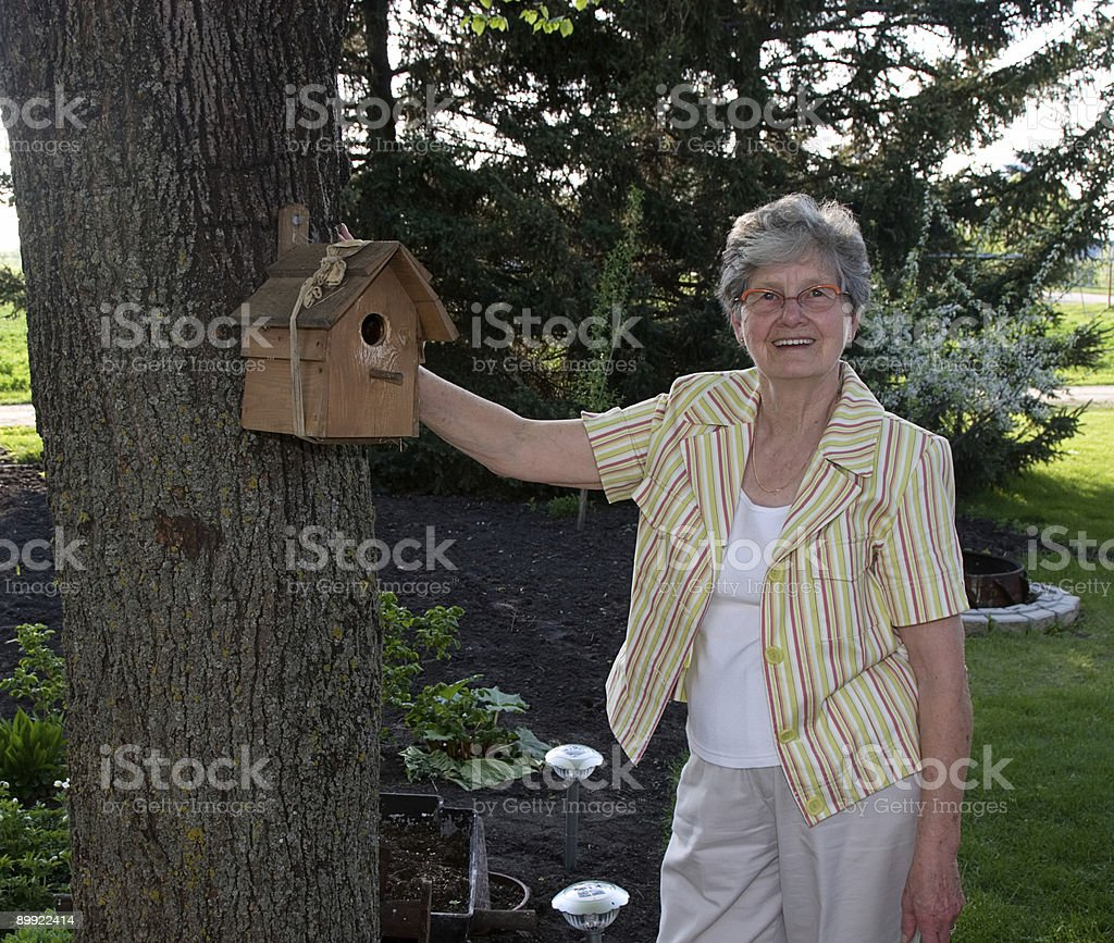 Grandmother and bird house stock photo