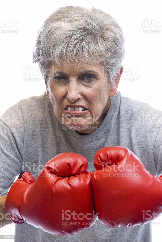 Avó e luvas de boxe - foto de acervo