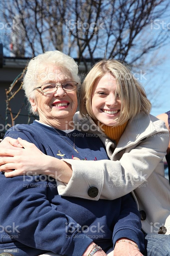 grandmother and grand daughter royalty-free stock photo