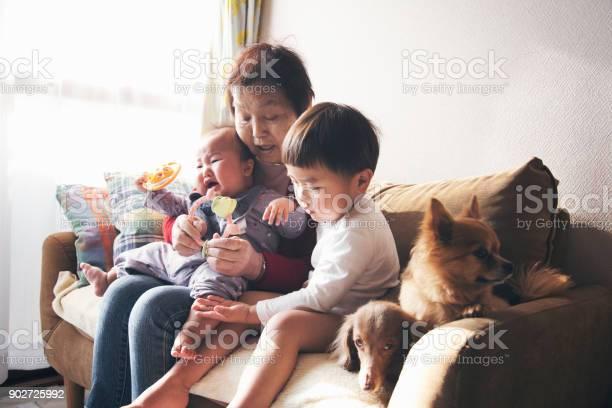 Grandmother and grandchildren at home picture id902725992?b=1&k=6&m=902725992&s=612x612&h=ixsfigtzmwnofuzliveqr7r6rxuwfs yurejvcztcps=