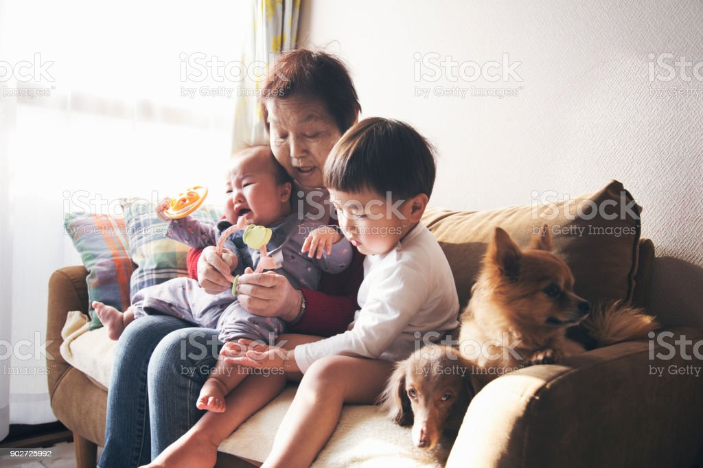 Grandmother and grandchildren at home stock photo