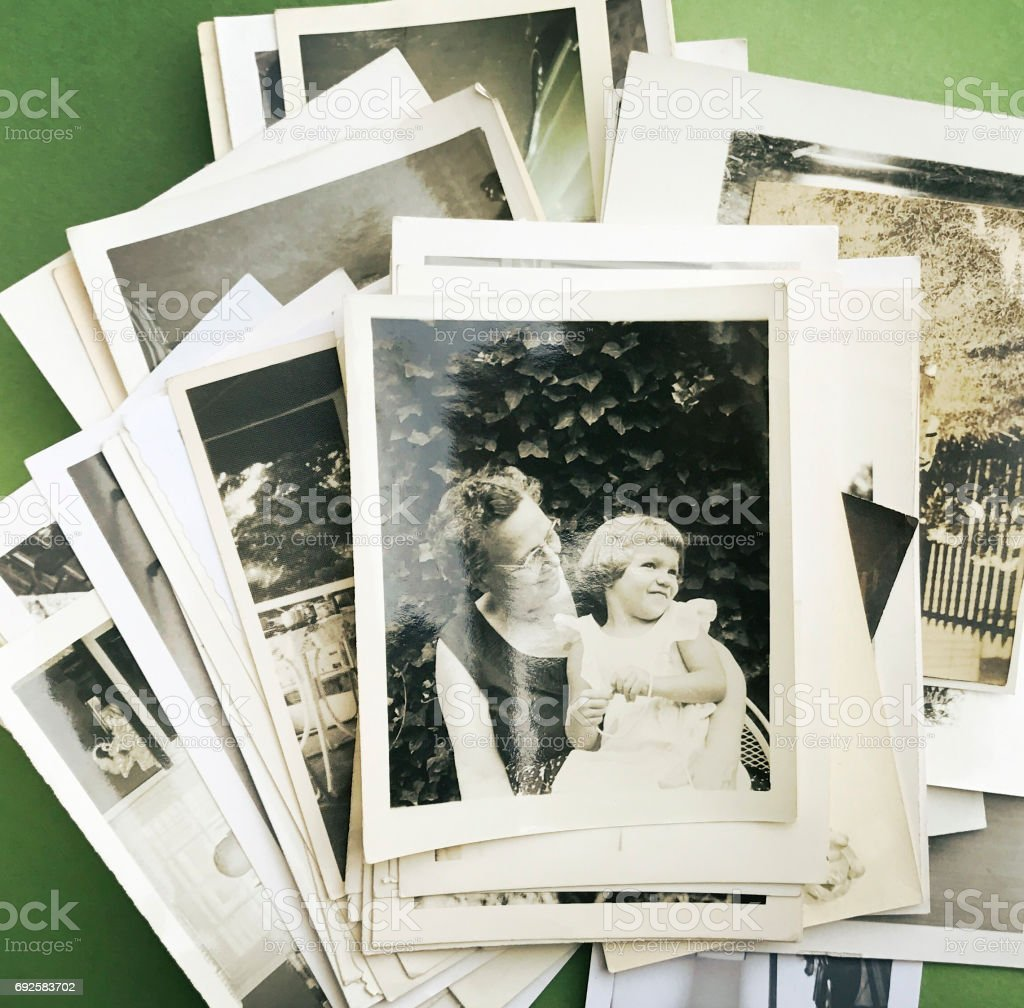 Grandmother and Granddaughter 1950s stock photo