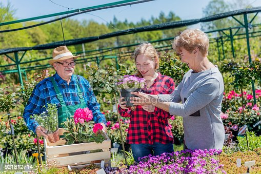 istock Grandmother and granddaughter buying potted flowers. 921812714