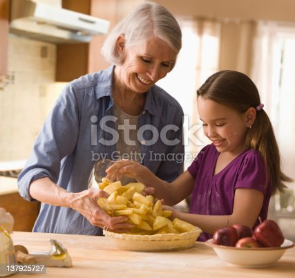 istock Grandmother and granddaughter filling in pie 137925727