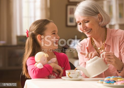 istock Grandmother and granddaughter having tea party 137925722