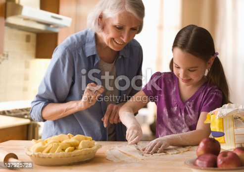 istock Grandmother and granddaughter making cover for pie 137925728