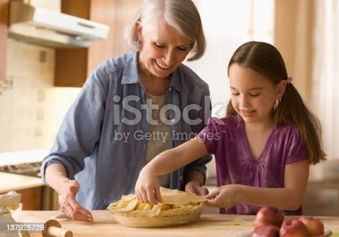 istock Grandmother and granddaughter making pie 137925729